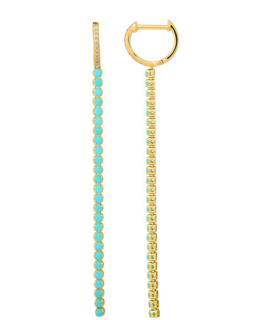 HUGGIE WITH TURQUOISE TENNIS DROP EARRINGS
