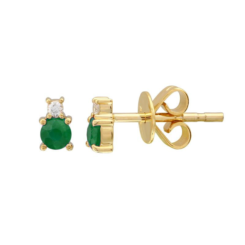 EMERALD AND DIAMOND BIRTHSTONE STUD EARRINGS