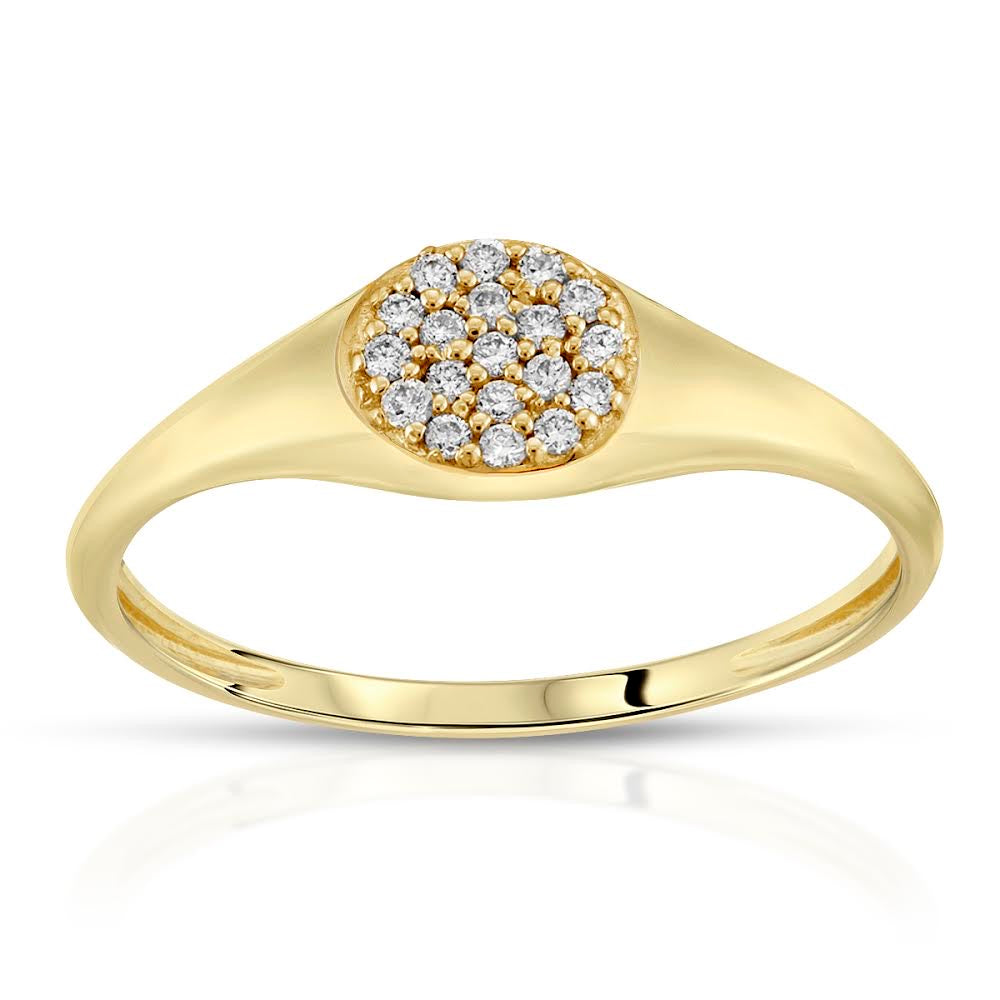 DIAMOND PAVE SIGNET RING