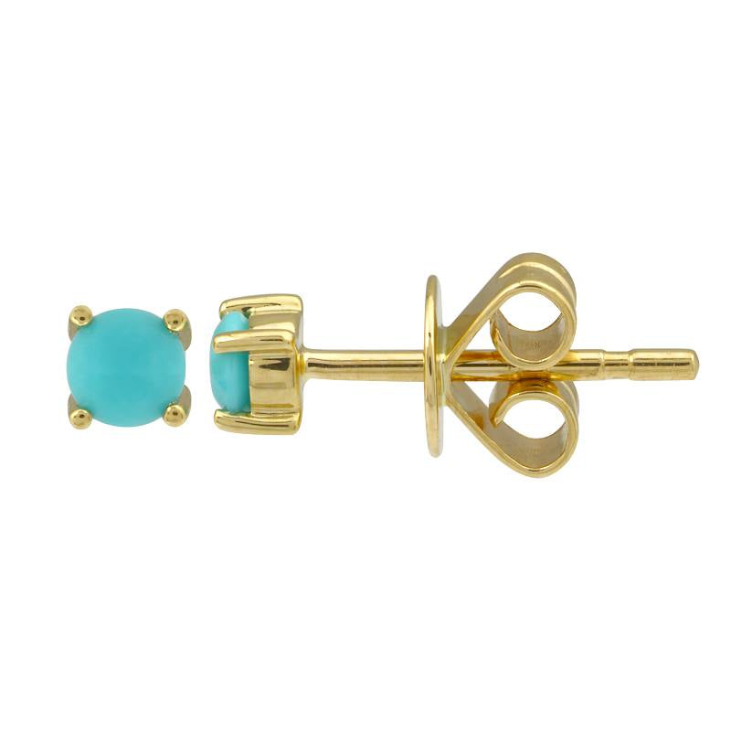 TURQUOISE BIRTHSTONE STUD EARRINGS