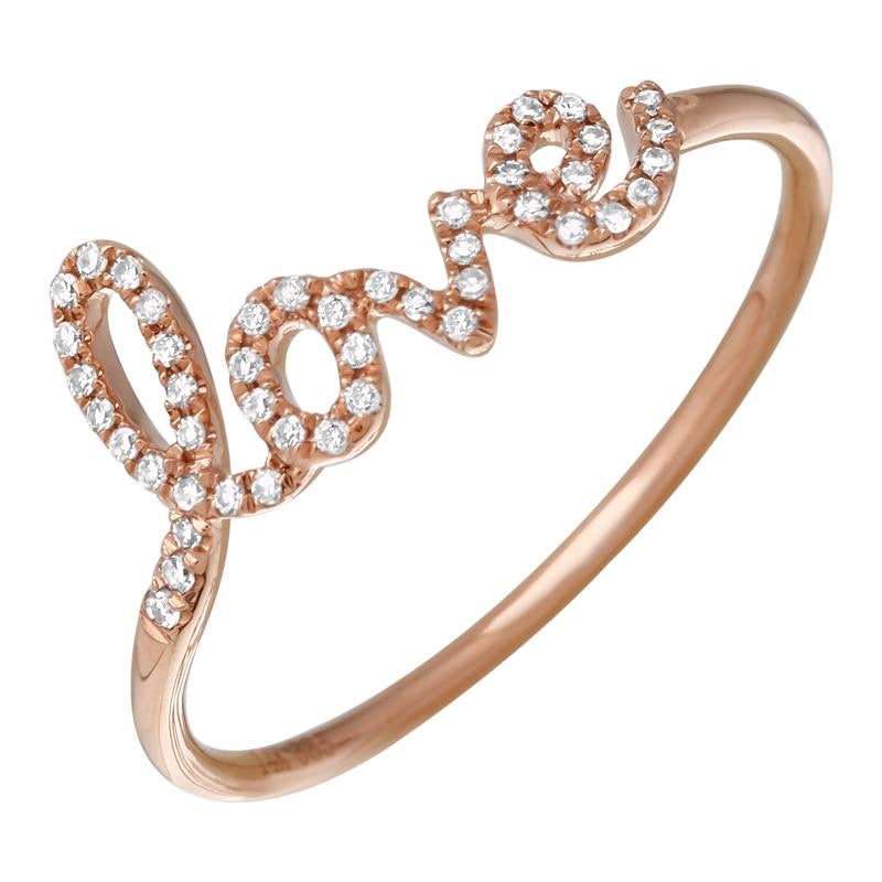 14K ROSE GOLD DIAMOND LOVE RING