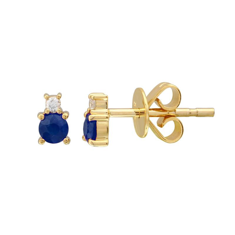 SAPPHIRE AND DIAMOND BIRTHSTONE STUD EARRINGS