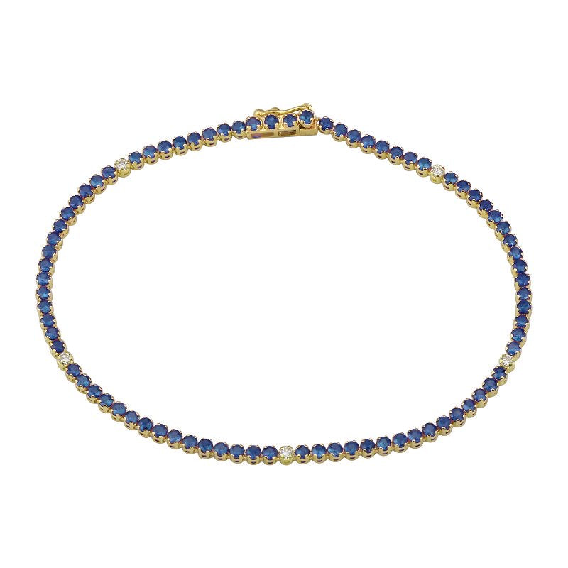 BLUE SAPPHIRE AND DIAMOND TENNIS BRACELET