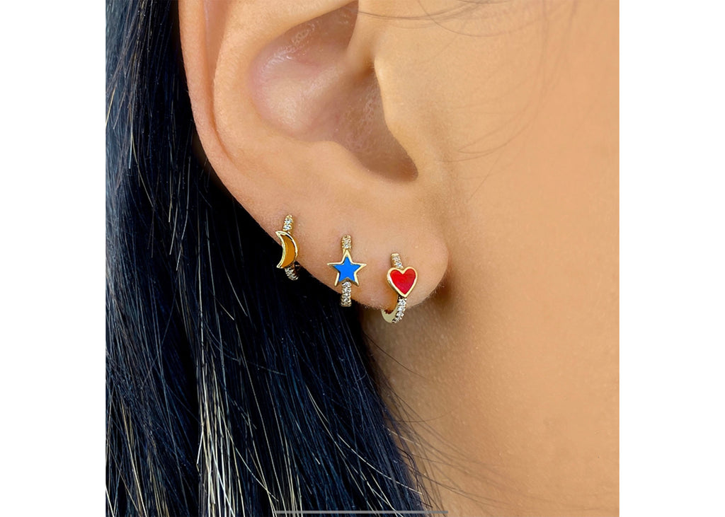 HEART ENAMEL DIAMOND HUGGIE EARRINGS