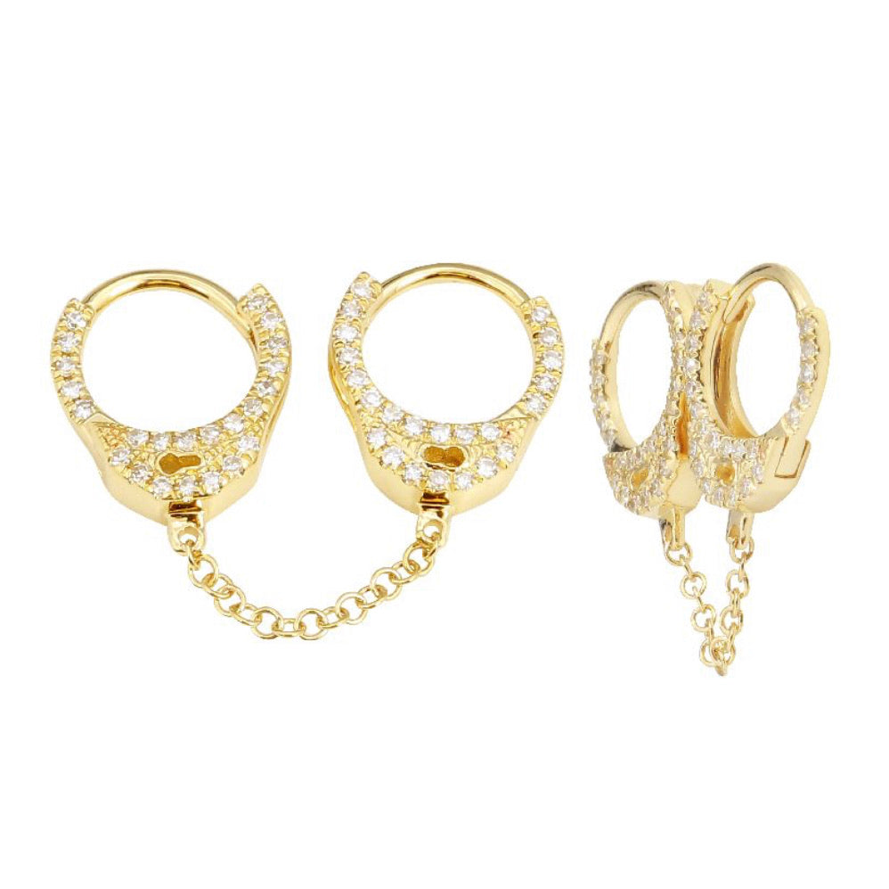DOUBLE HANDCUFF EARRINGS( SINGLE)