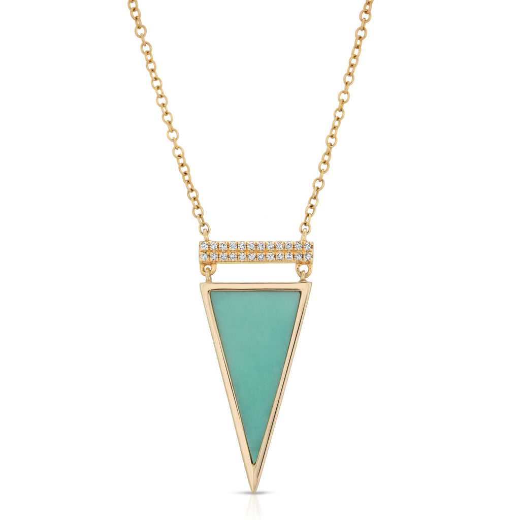 14K YELLOW GOLD BLANCHE NECKLACE WITH DIAMOND AND TURQUOISE.