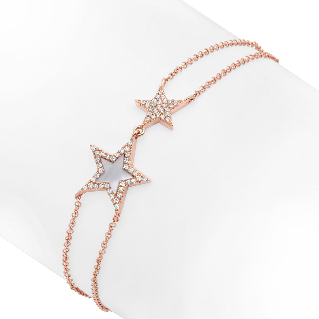 14K ROSE GOLD STARS BRACELET WITH DIAMONDS AND MOTHER OF PEARL