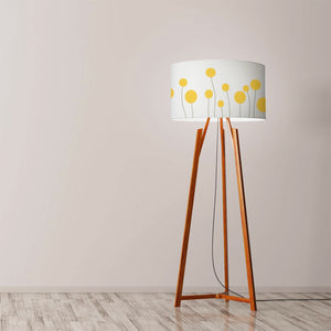 "Yellow flowers with spikes Drum Lampshade Diameter 45cm (18"") Ceiling or floor lamp - Meretant Decor"