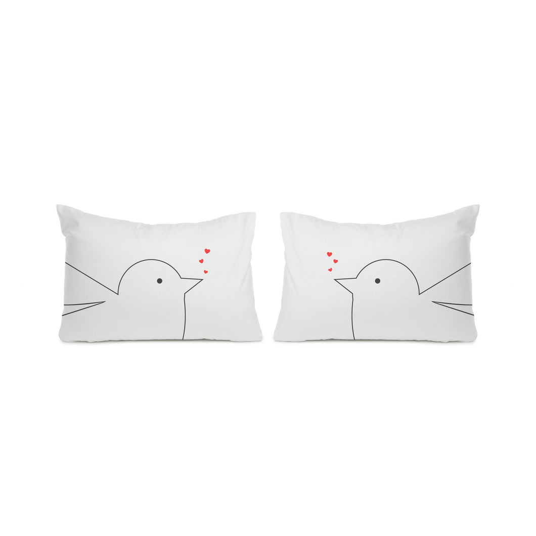 Birds in love, pair housewife pillowcases - Meretant Decor