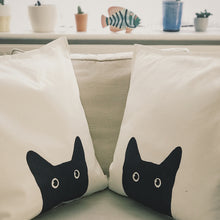 "Load image into Gallery viewer, Black Cat cushion or cover 50x50cm (20x20"") - Meretant Decor"