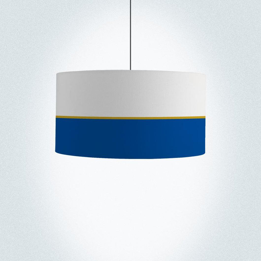 Navy and metallic gold lines drum lampshade 45cm (18