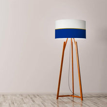 "Load image into Gallery viewer, Navy and metallic gold lines drum lampshade 45cm (18"") - Meretant Decor"