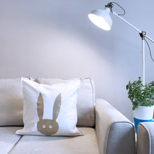 "Load image into Gallery viewer, Rabbit cushion or cover 50x50cm (20x20"") Cotton - Meretant Decor"