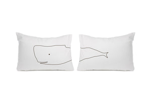 Pair Whale pillowcases Cot bed or Standard size - Meretant Decor