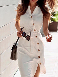 Solid Buttoned Sleeveless Casual Dress