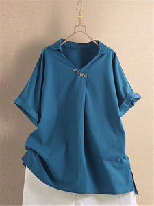 Casual V Neck Solid Color Short Sleeved T-Shirt