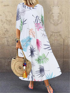 Multi-colored leaves print half sleeve dress