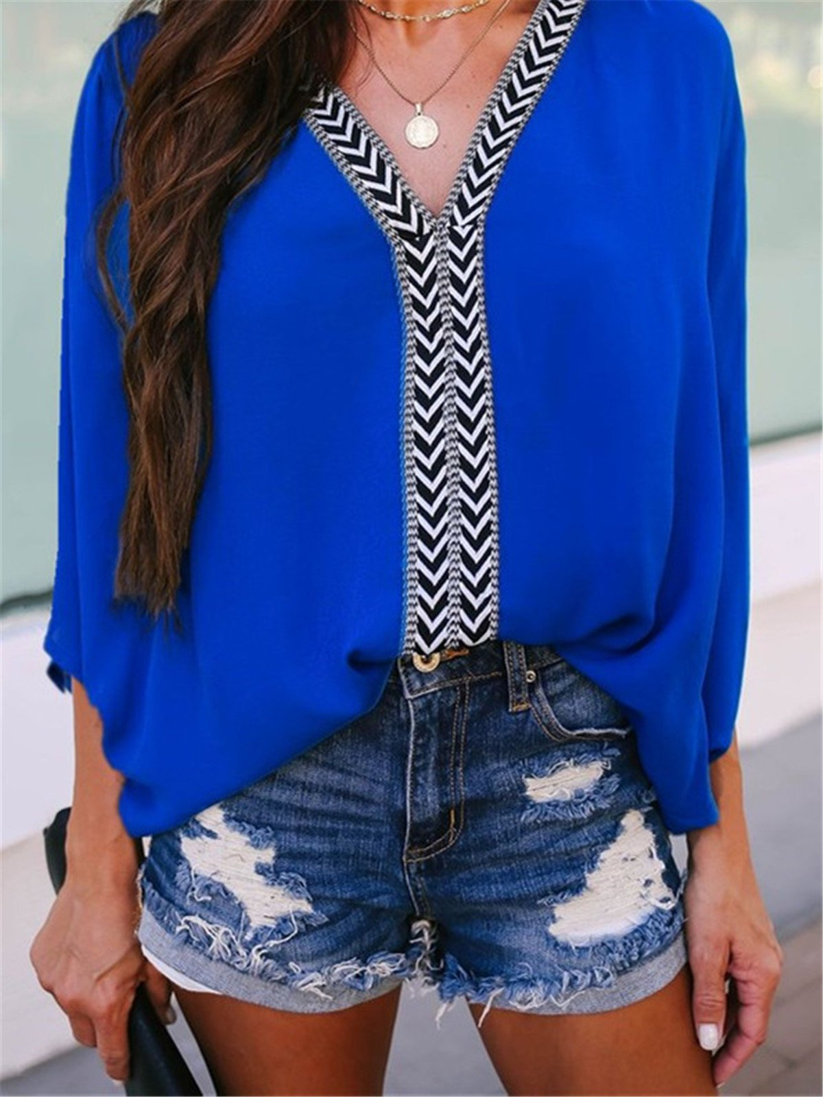 Plus Size V-Neck Long  Sleeve  Casual Shirts & Tops