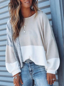 Fall Color-Block Casual Shirts & Tops