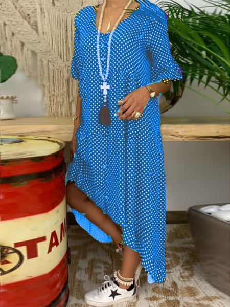 Holiday Polka Dots Buttoned Short Sleeve Maxi Dress
