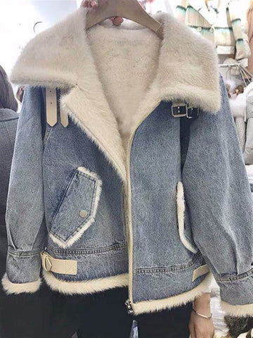Autumn Plus Size Outwear Denim Faux Fur Long Sleeve Jacket