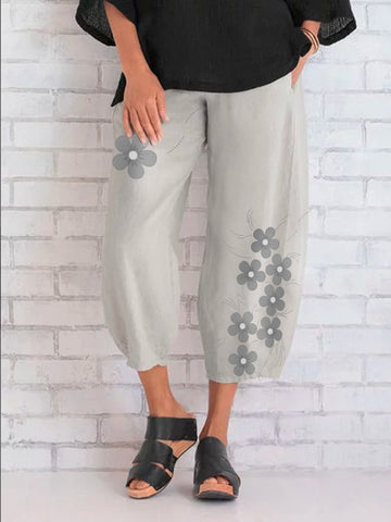 Gray Floral Casual Cotton Pants