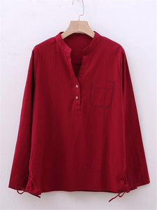 Casual V-Neck Solid Color Long Sleeve Plus Size Blouse