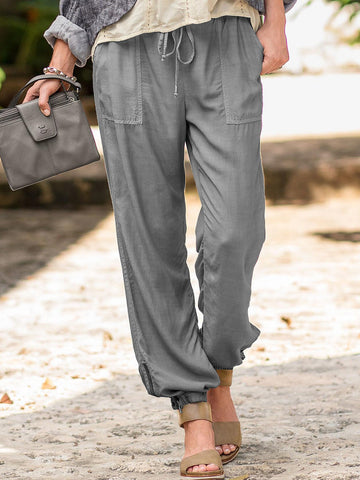 Casual Plain Pockets Pants