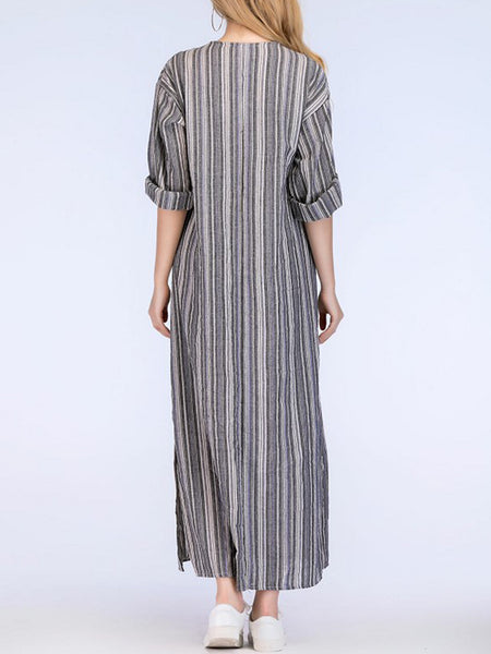 Plus Size Women  Shift Daily Linen Long Sleeve Pockets Striped Dress