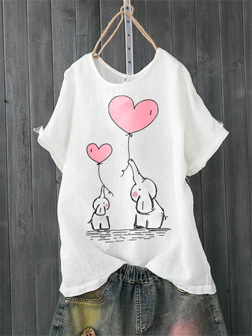 Crew Neck Casual Cotton Elephant Love Print Shirts & Tops