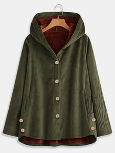 Corduroy Hoodie Buttoned Casual Coat