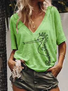 Animal Short Sleeve Seahorse Tops