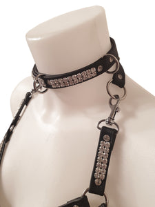 Nina Jay Diamant - Leder Harness mit Choker Body Strassband Diamant Band