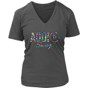 Audio Swag Geometric Logo Ladies V-neck T-shirt - Audio Swag
