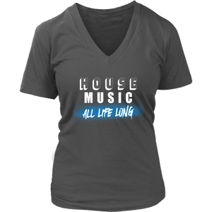 House Music All Life Long (solid) Ladies V-Neck Tee - Audio Swag