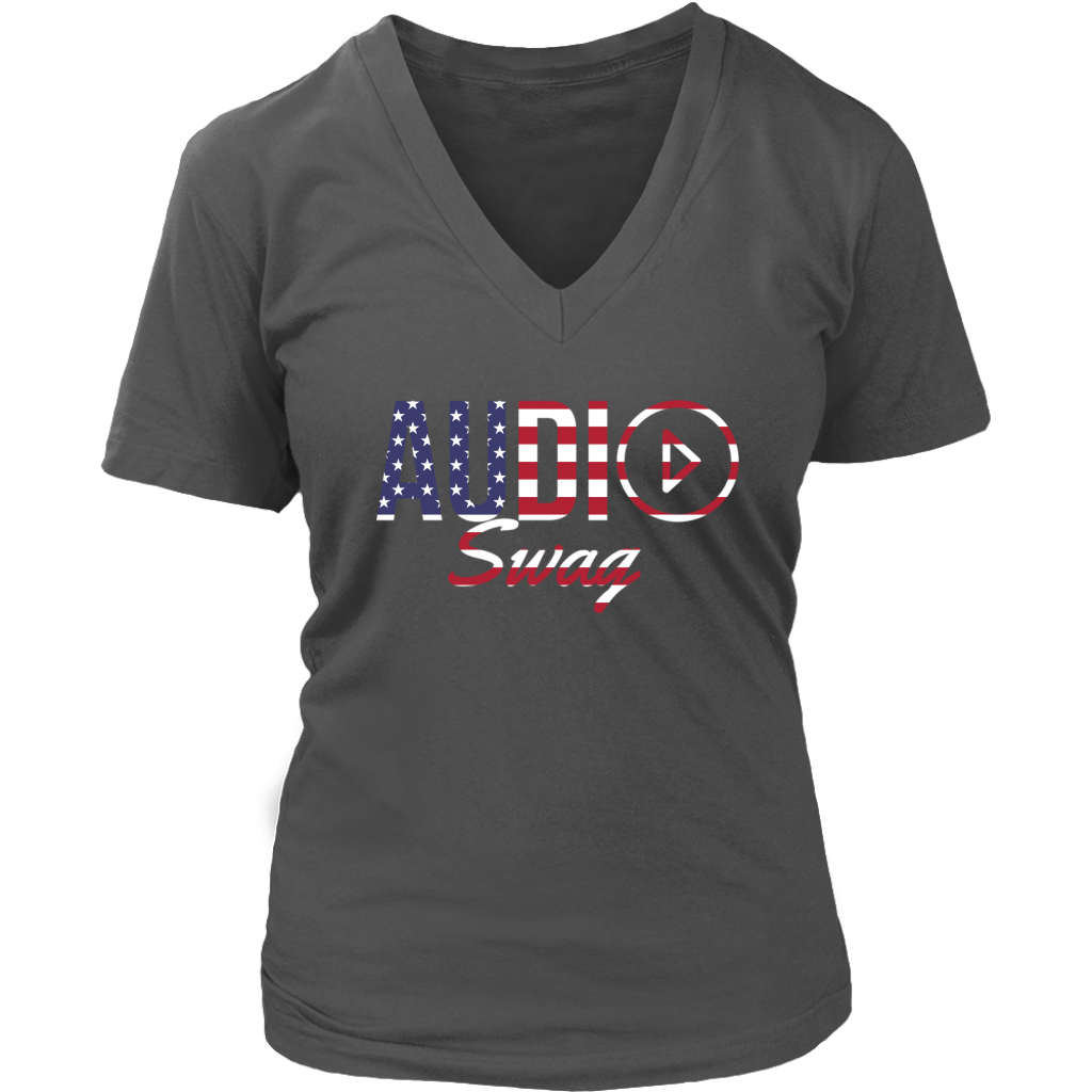 Audio Swag USA Logo Ladies V-Neck Tee - Audio Swag