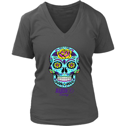 Sugar Skull Rose Ladies V-neck T-shirt