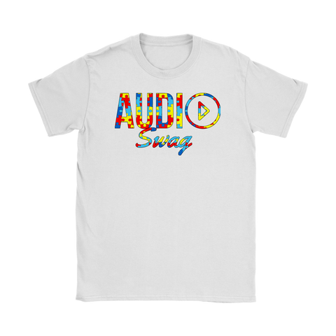 Audio Swag Autism Awareness Puzzle Logo Ladies  T-shirt - Audio Swag