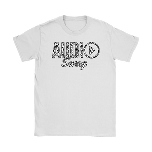 Audio Swag White Cheetah Logo Ladies T-shirt - Audio Swag