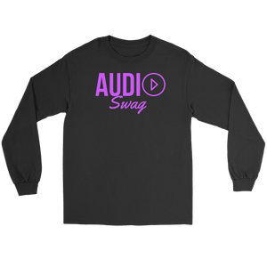 Audio Swag Fuschia Logo Long Sleeve T-shirt - Audio Swag