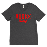 Audio Swag Red Logo Mens V-Neck Tee - Audio Swag