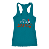 But First, Lipstick Ladies Racerback Tank Top - Audio Swag