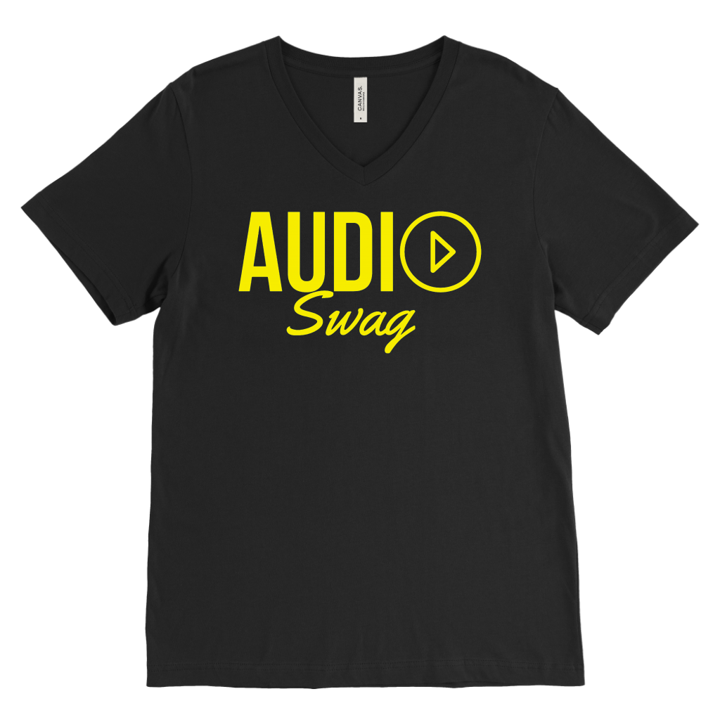 Audio Swag Yellow Logo Mens V-neck T-shirt - Audio Swag