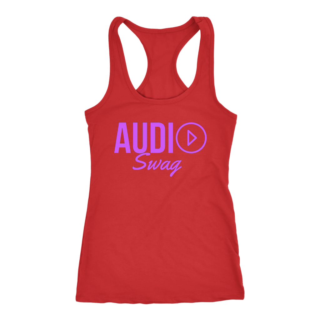 Audio Swag Fuschia Logo Ladies Racerback Tank Top - Audio Swag