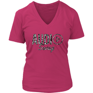 Audio Swag Zebra Logo Ladies V-neck T-shirt - Audio Swag