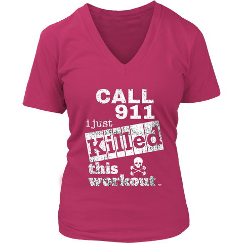 Killed This Workout Fitness Ladies V-neck T-shirt