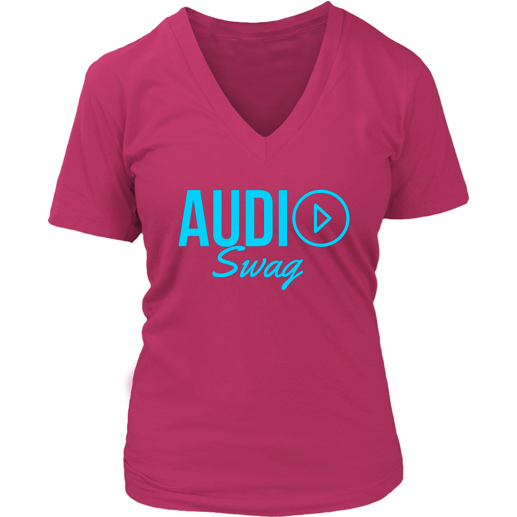 Audio Swag Blue Logo Ladies V-neck T-shirt - Audio Swag