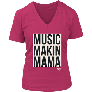 Music Makin Mama Ladies V-neck T-shirt - Audio Swag