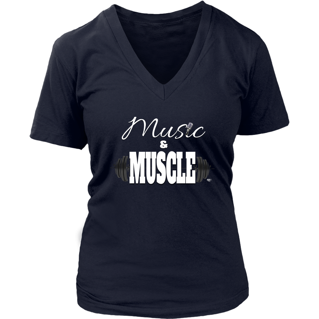 Music & Muscle Ladies V-neck T-shirt
