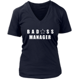 Bad@ss Manager Ladies V-Neck Tee - Audio Swag
